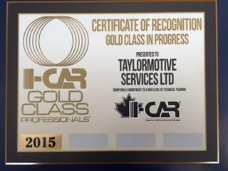 I-Car Gold Class Certificate of Recognition