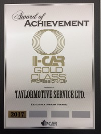 2017 I-Car Gold Class Certificate of Recognition